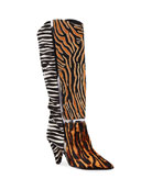 Alexandre Birman Dora Mixed Animal-Print Knee Boots