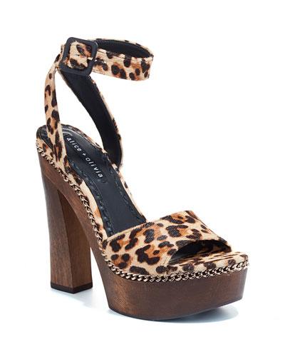 Faira Wooden-Platform Leopard Sandals