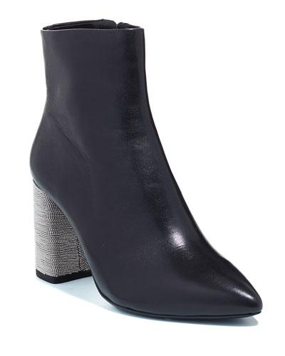 Delanie Beaded Chunky-Heel Booties