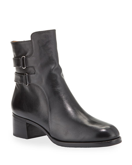 Gravati Leather Double-Buckle Booties