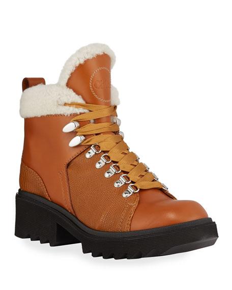 Chloe Bella Leather Fur-Lined Hiker Booties