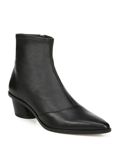 Odette Leather Zip Booties