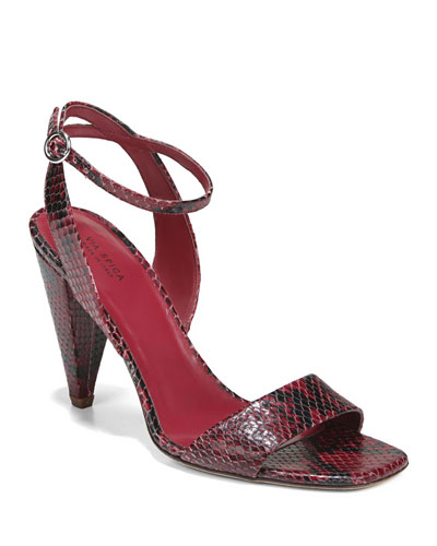 Ria Snake-Print Leather Sandals