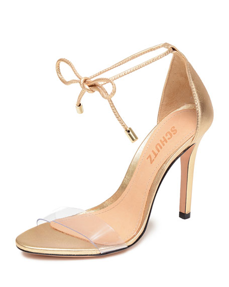 Schutz Josseana Metallic Ankle-Tie Sandals