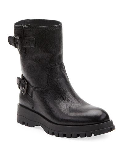 Leather Double-Buckle Booties