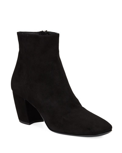 Suede Zip Ankle Booties