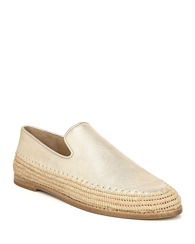 Jalen Metallic and Raffia Flats