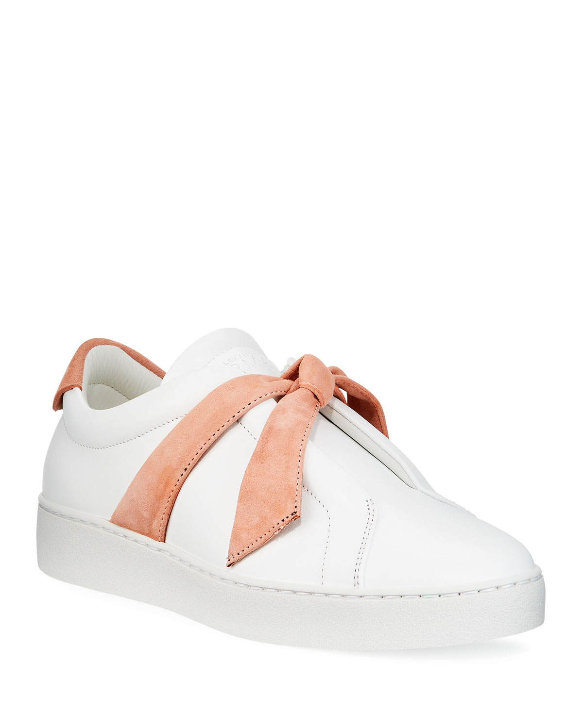 Clarita Two-Tone Sneakers, White/Pink