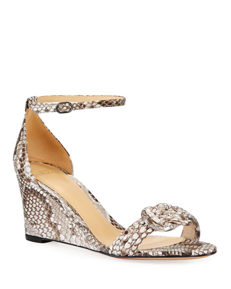 Alexandre Birman Vicky Python Wedge Sandals