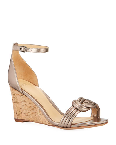 Vicky 75mm Leather Wedge Sandals