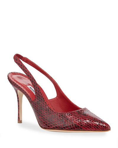 Allura 90mm Snakeskin Slingback Pumps