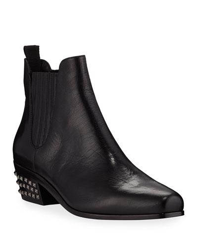 Millan Studded-Heel Booties