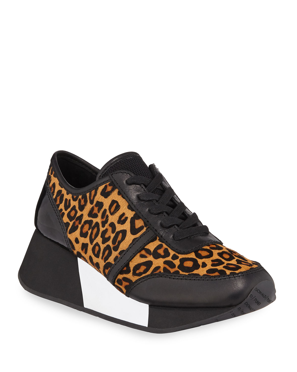 Payce Cheetah-Print Calf Hair Wedge Sneakers