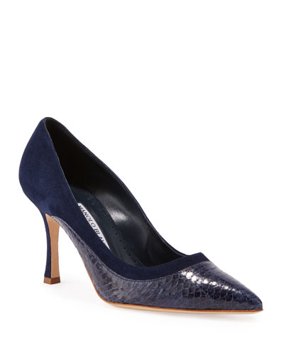 Monda Snake and Suede Pumps