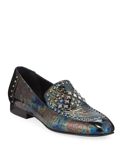 Lukas Studded Iridescent Patent Leather Loafers