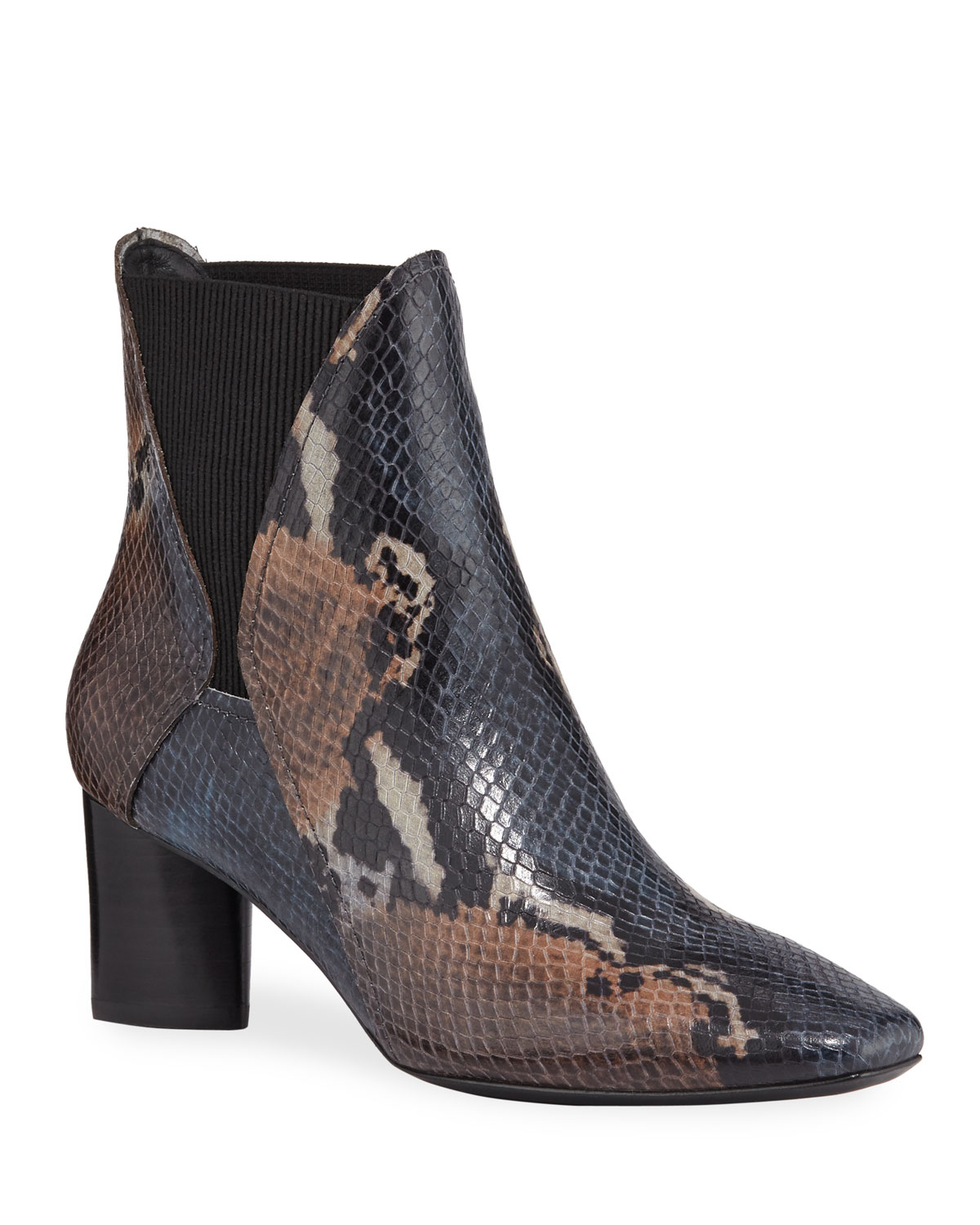 Austen Painted Python-Print Leather Chelsea Booties