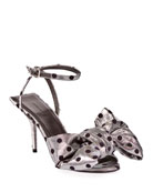Balenciaga Square Knife Bow Polka-Dot Sandals