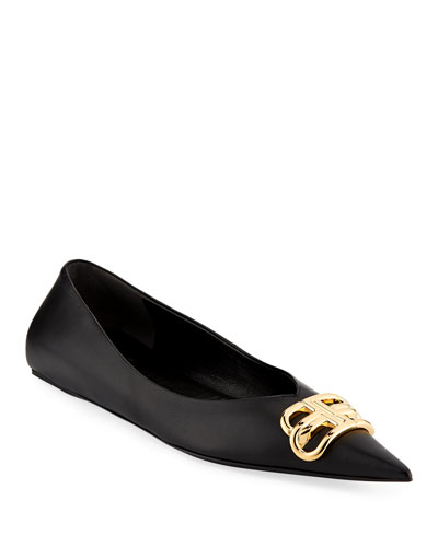 BB Medallion Point-Toe Ballerina Flats