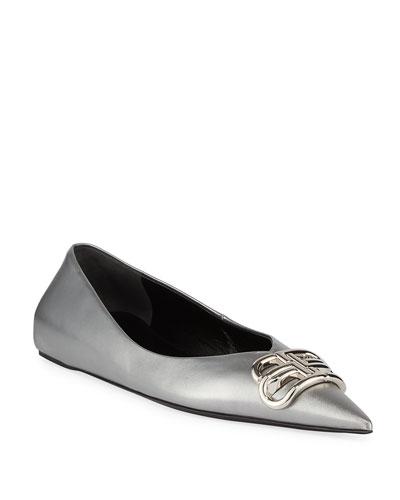 BB Metallic Leather Pointy-Toe Ballerina Flats