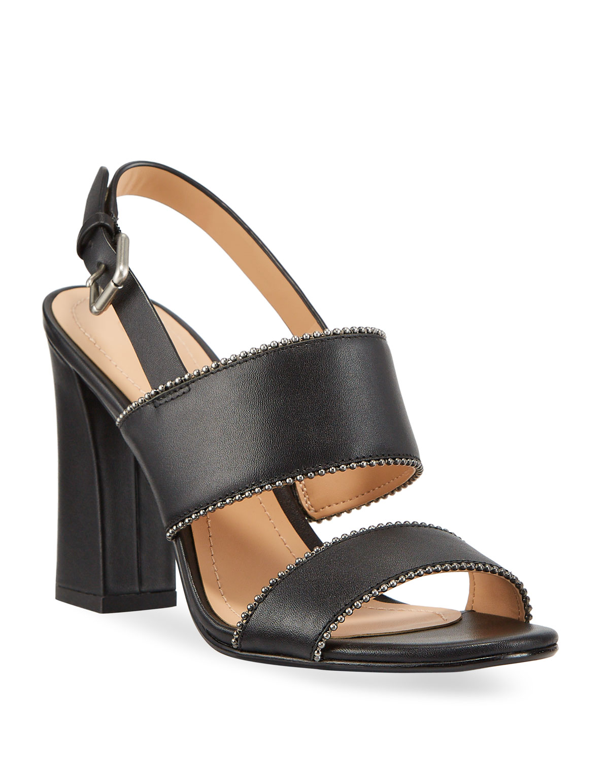 Rylie Bead-Chain Leather Slingback Sandals