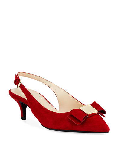 Tali Grand Bow Kitten-Heel Suede Pumps