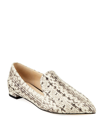 Brie Grand Snake-Print Leather Flats