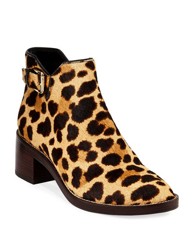 Harrington Animal-Print Calf Hair Booties