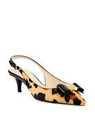 Cole Haan Tali Grand Bow Leopard-Print Slingback Pumps