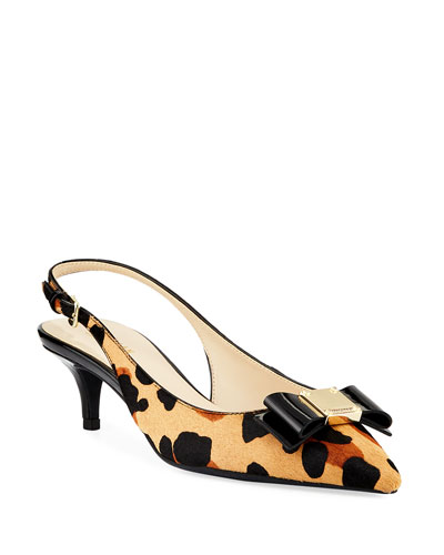 Tali Grand Bow Leopard-Print  Slingback Pumps