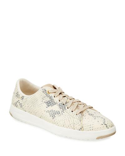 Grandpro Snake-Print Suede Tennis Sneakers