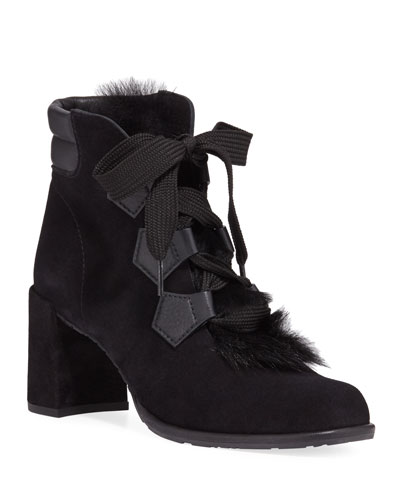 Wilmette Lace-Up Booties with Fur Trim