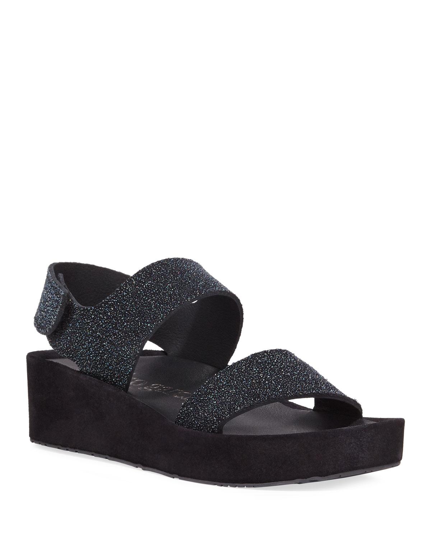 Lacey Textured Platform Sandals