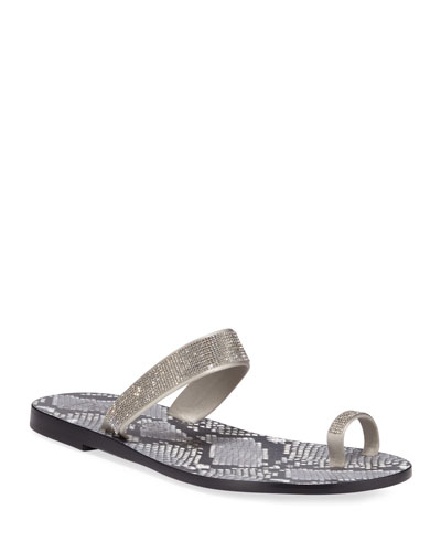 Zarina Crystal Flat Sandals