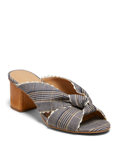 Holly Plaid-Print Mules