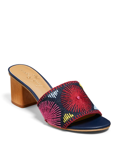Bettina Mid-Heel Embroidered Sandals