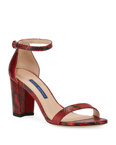 NearlyNude Snake-Print Sandals