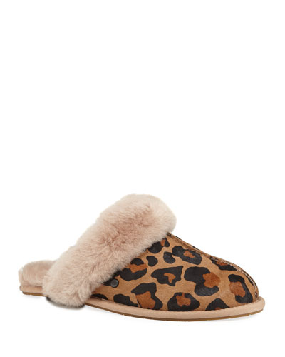 Scuffette II Leopard Calf-Hair Slippers with Shearling Cuff