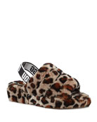 UGG Fluff Yeah Leopard Shearling Sandal Slippers