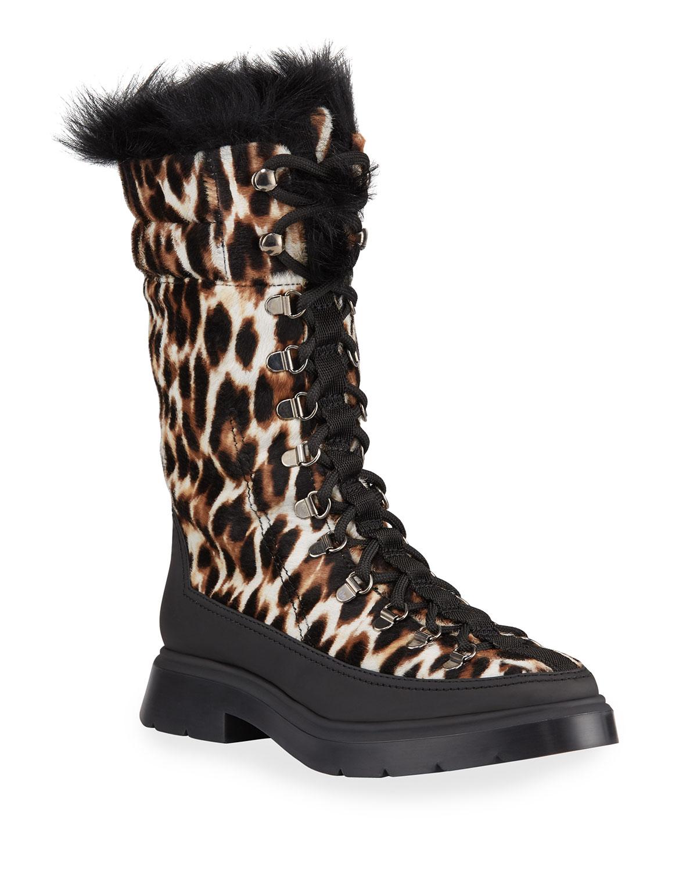 Jessie Leopard Fur Booties