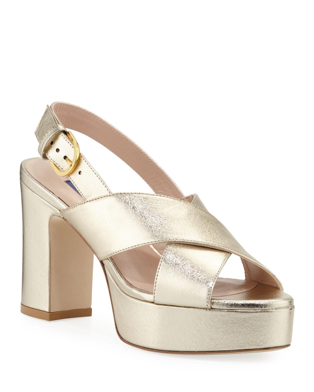 Jerry Metallic Leather Cross-Strap Sandals