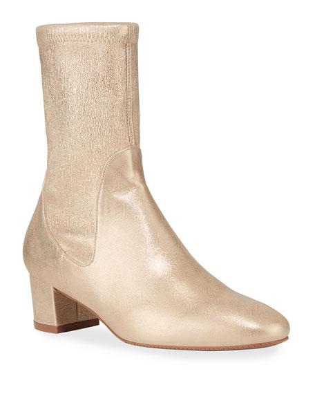 Stuart Weitzman Ernestine Metallic Sock Booties