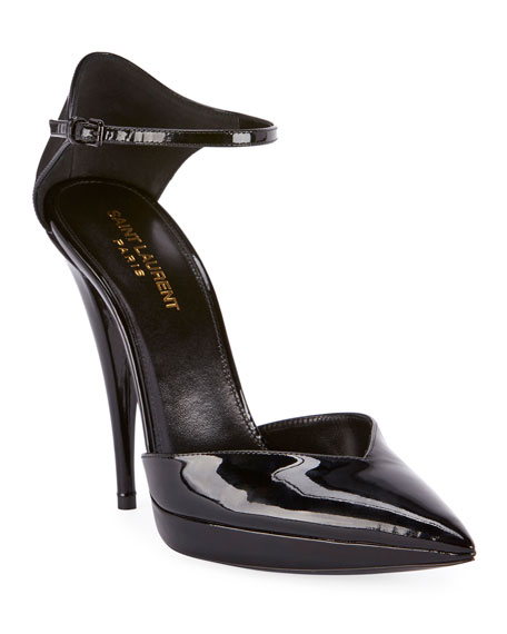 Saint Laurent Zizi Platform Ankle-Wrap Pumps