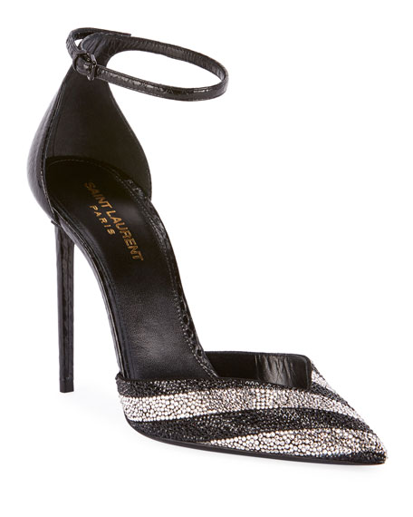 Saint Laurent Zoe Embellished Snakeskin Pumps