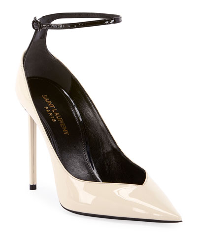 Zoe Shiny Ankle-Strap Pumps