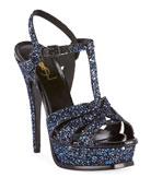 Saint Laurent Tribute Glittered Platform Sandals