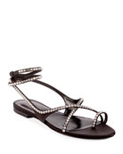 Saint Laurent Gia Crystal Flat Sandals