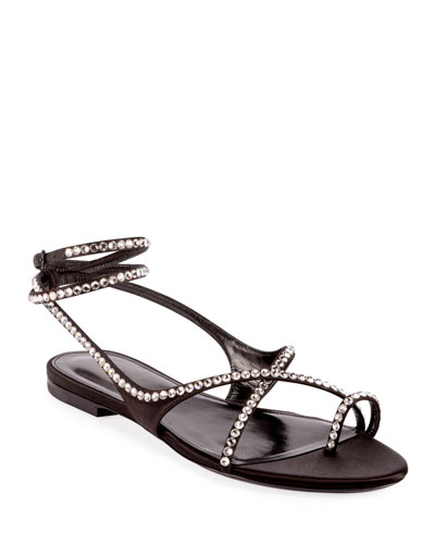 Gia Crystal Flat Sandals