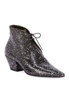 Saint Laurent Belle Speckled Python Lace-Up Booties