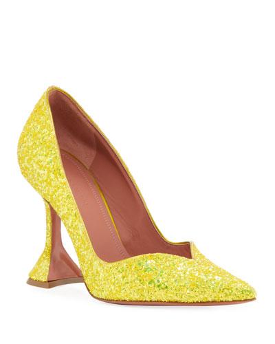 Giorgia Glitter Flare-Heel Pumps
