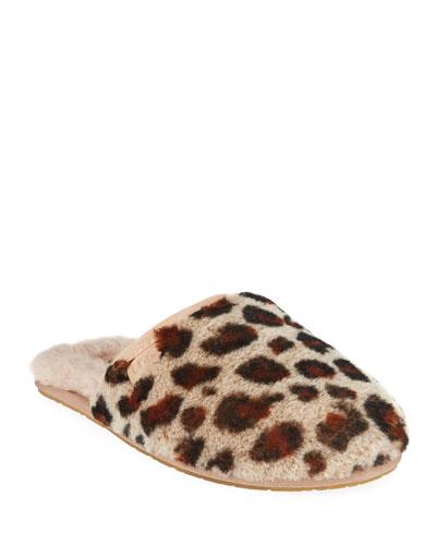 Fluffette Leopard Flat Slippers